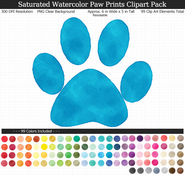 Rainbow Watercolor Paw Print Clipart Pack - Clear Background PNG - Large 6 inches Wide x 5 inches Tall Resizeable - 99 Colors
