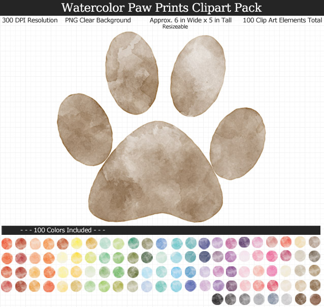 Rainbow Watercolor Paw Print Clipart Pack - Clear Background PNG - Large 6 inches Wide x 5 inches Tall Resizeable - 100 Colors