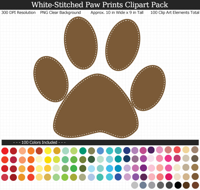 Rainbow Paw Print Clipart Pack - Clear Background PNG - Large 10 inches Wide x 9 inches Tall Resizeable - 100 Colors