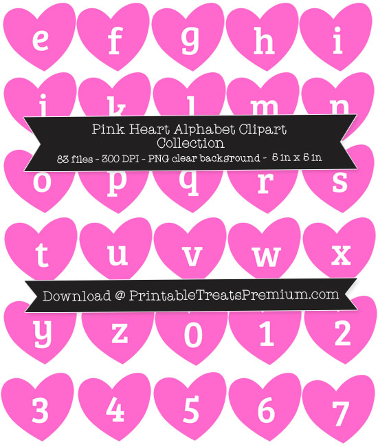 Pink Heart Alphabet Clipart Collection