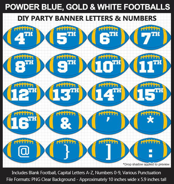 Love these fun Powder Blue, Gold, and White Football clipart for game day decoration - Letters, Numbers, Punctuation - Go Chargers!