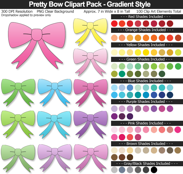 Rainbow Pretty Bow Clipart Pack - Clear Background PNG - Large 7 inches Wide x 10 inches Tall Resizeable - 100 Colors