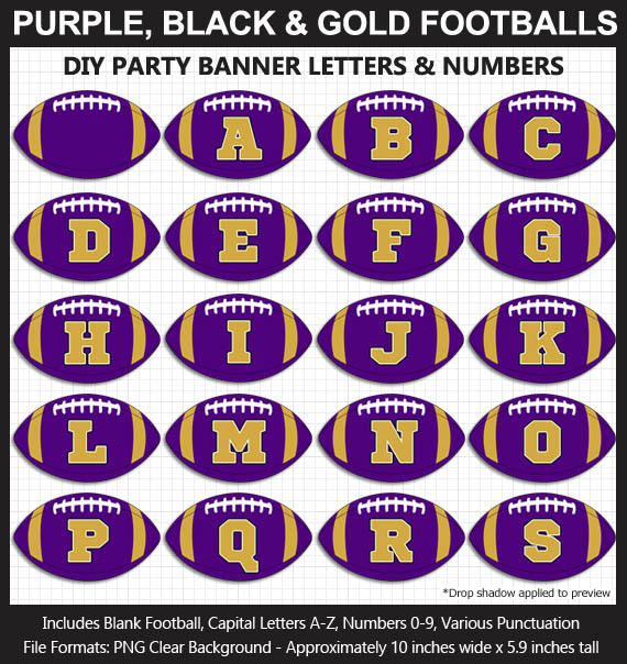 Love these fun Purple, Black, and Gold Football clipart for game day decoration - Letters, Numbers, Punctuation - Go Ravens!