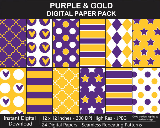 Love these fun purple and gold seamless pattern digital papers!