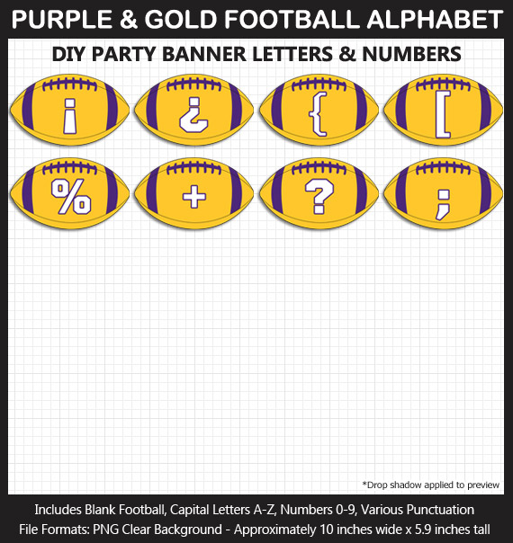 Love these fun Purple and Gold Football clipart for game day decoration - Letters, Numbers, Punctuation - Go Vikings!