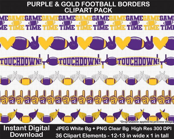 Love these fun football borders clipart! Go Vikings!