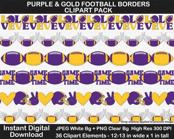 Love these fun purple and gold football borders for scrapbooks, signs, and bulletin boards. Go Vikings!