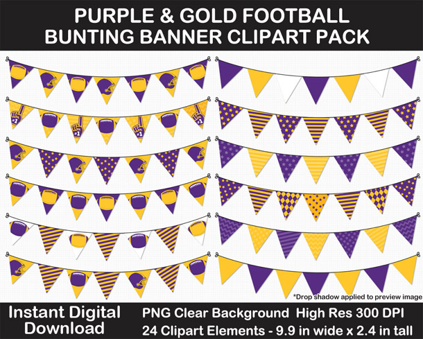 Love these fun Purple and Gold Football Theme Bunting Banner Clipart - Go Vikings!