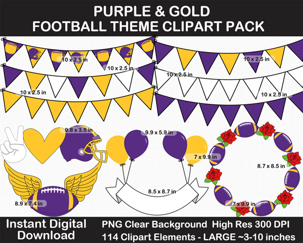 Love these fun Purple and Gold Football Theme Clipart - Letters, Numbers, Punctuation - Go Vikings!