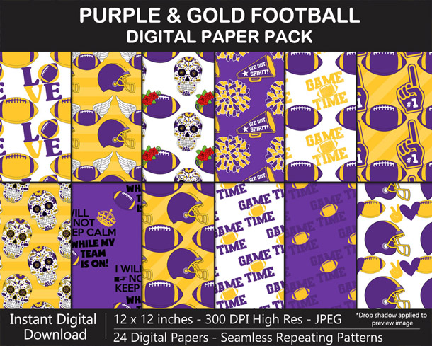 Love these fun purple and gold football digital papers - Go Vikings!