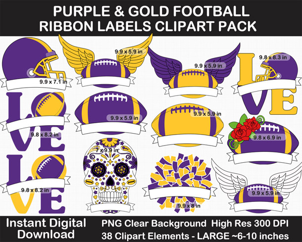 Purple and Gold Football Ribbon Label Clipart Pack - Go Vikings!