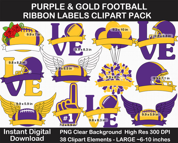 Love these fun Purple and Gold Football Ribbon Labels - Go Vikings!