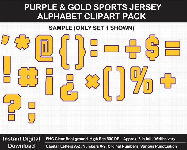 Love these fun Purple and Gold Sports Jersey Alphabet Clipart for Sign Making - Letters, Numbers, Punctuation - Go Vikings!