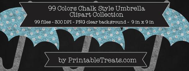 Chalk-Style Polka Dot Umbrella Clip Art Pack