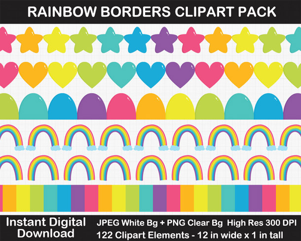 Love these fun rainbow borders clipart!