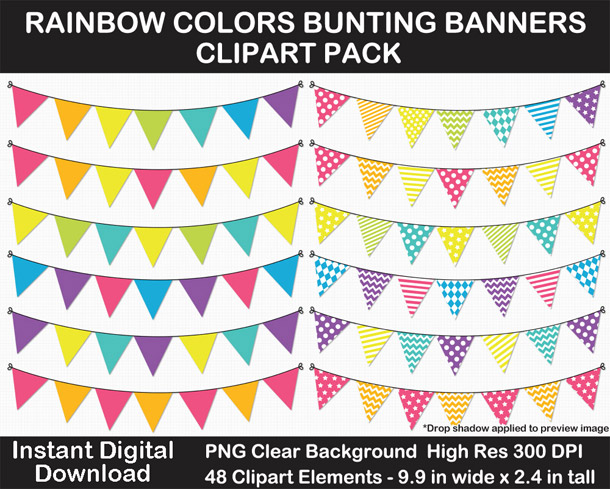 Love these fun rainbow bunting banner cut outs for decorating!