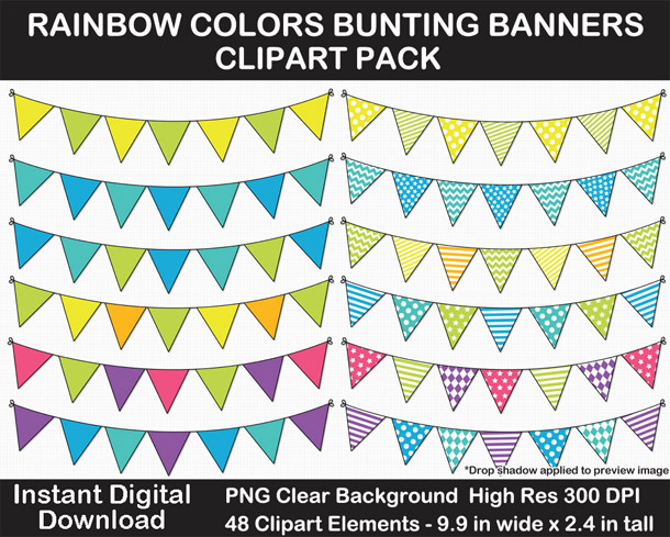 Love this fun rainbow colors bunting banner clip art pack for scrapbooking and card-making!