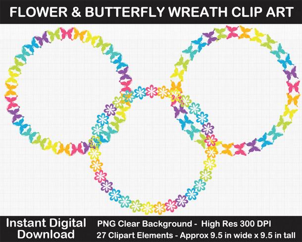 Love these fun rainbow flower wreaths clipart!