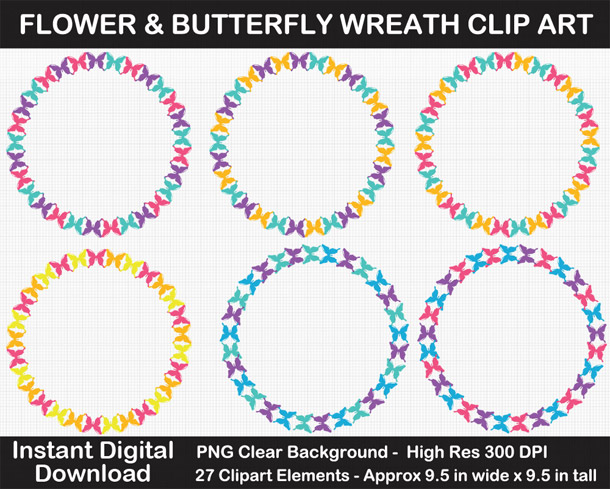 Love these cute rainbow flower and butterfly wreath frames clipart!