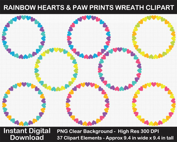 Love these cute rainbow heart and paw wreath frames clipart!