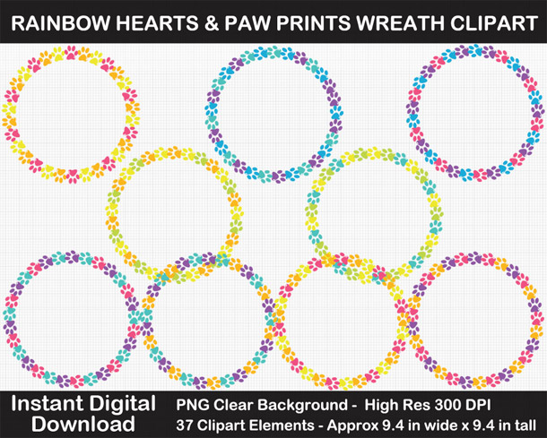Love these cute rainbow heart and paw wreath frames clipart!