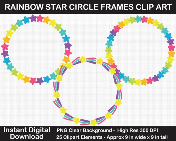 Love these cute rainbow star wreath frames clipart!