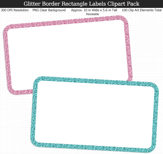 Glitter Border Rectangle Labels Clipart Pack