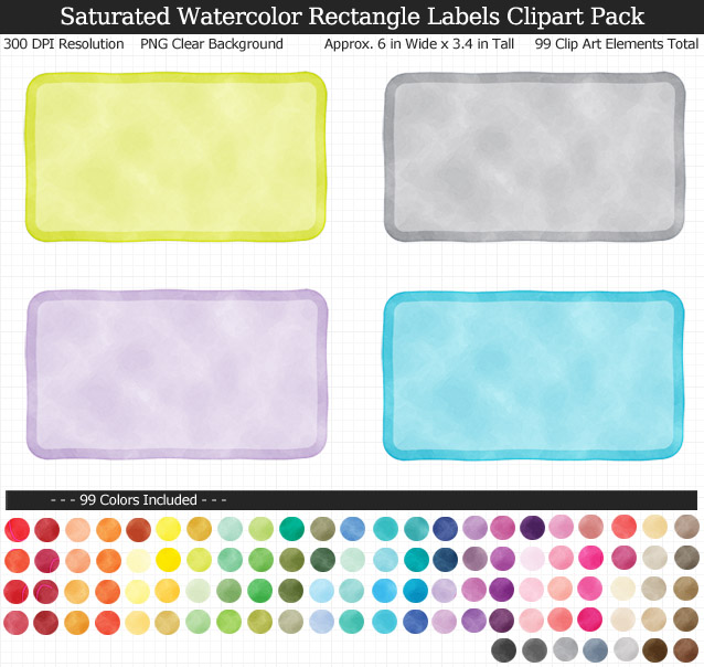 Watercolor Rectangle Labels Clipart Pack