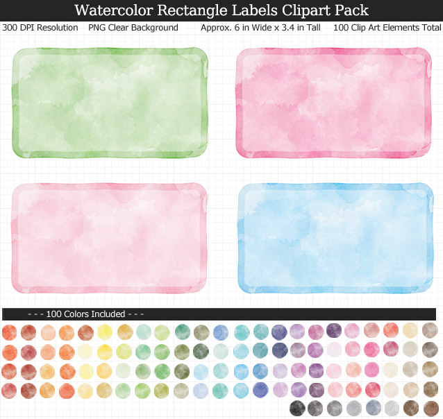 Love these rainbow watercolor label clipart for my binders and planner. 100 colors!