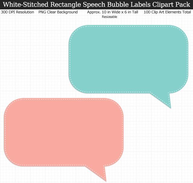 Stitched Rectangle Speech Bubbles Labels Clipart Pack