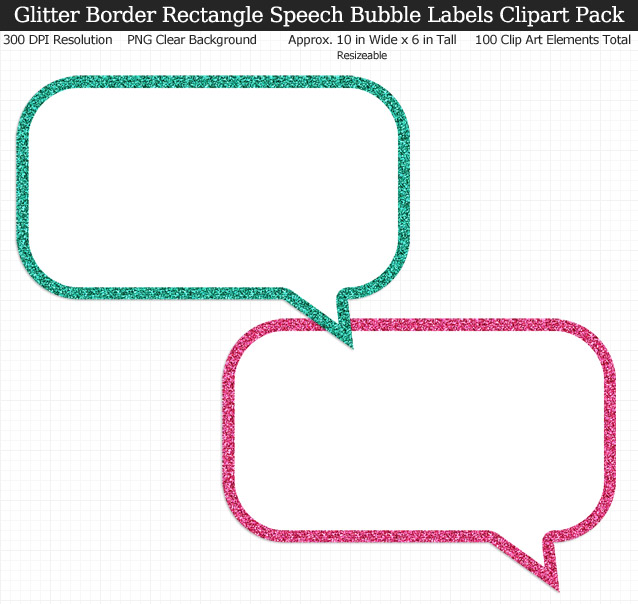 Glittery Border Rectangle Speech Bubbles Labels Clipart Pack