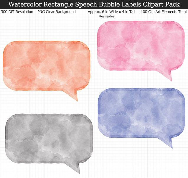 Watercolor Rectangle Speech Bubbles Labels Clipart Pack