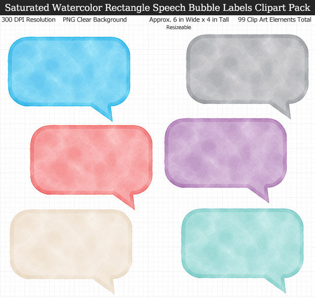 Love these rainbow watercolor speech bubble label clipart for my binders and planner. 99 colors!
