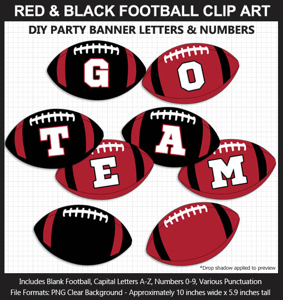 Love these fun Red and Black Football clipart for game day decoration - Letters, Numbers, Punctuation - Go Falcons!