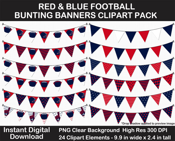 Love these fun Red and Blue Football Theme Bunting Banner Clipart - Go Texans!
