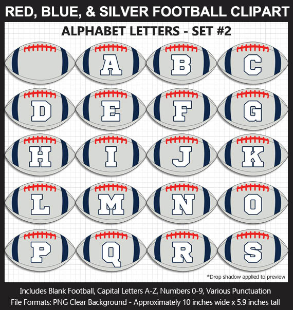 Love these fun Red, Blue, Silver Football clipart for game day decoration - Letters, Numbers, Punctuation - Go Pats!