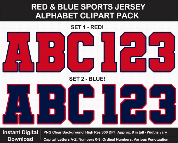 Love these fun Red and Blue Sports Jersey Alphabet Clipart for Sign Making - Letters, Numbers, Punctuation - Go Texans!