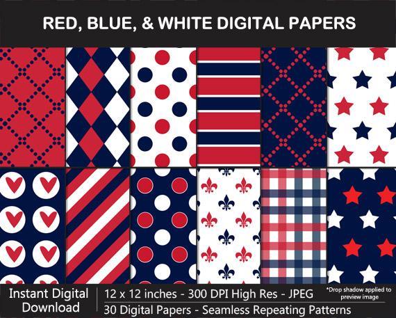 Love these red, blue, and white pattern digital papers!