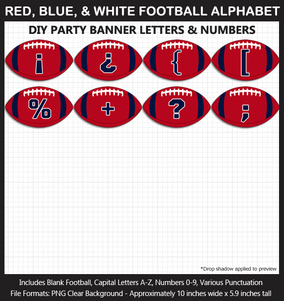 Love these fun Red, Blue, and White Football clipart for game day decoration - Letters, Numbers, Punctuation
