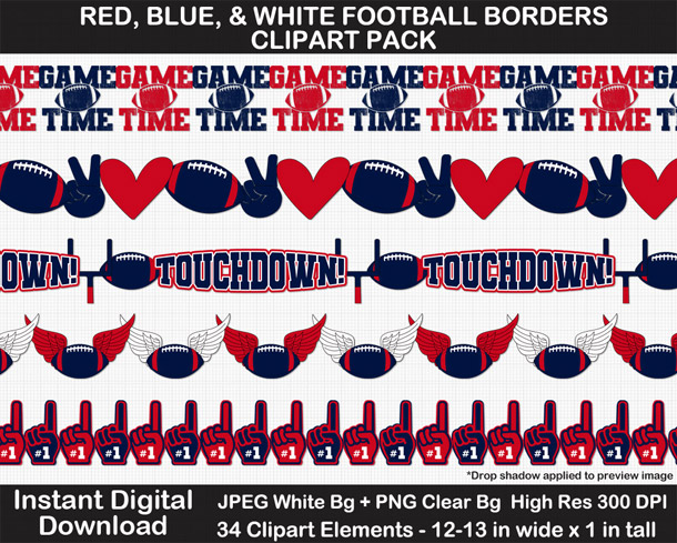Love these fun red, blue, and white football borders for scrapbooks, signs, and bulletin boards. Go Texans!