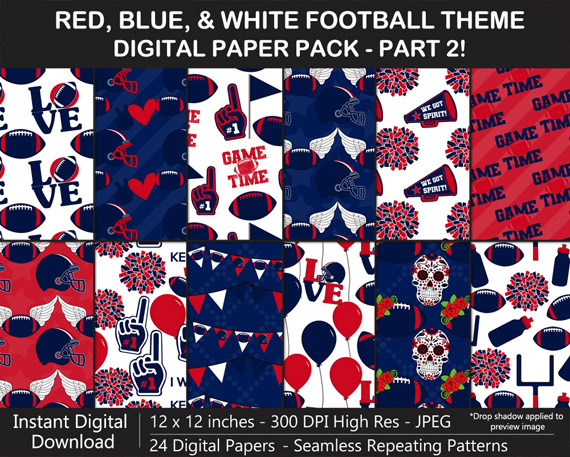 Red, Blue, and White Football Digital Paper Pack