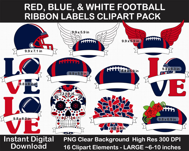 Red, Blue, White Football Ribbon Label Clipart Pack - Go Texans!