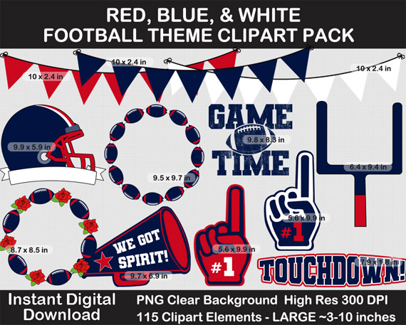 Love these fun red, blue, white football theme clipart pack!