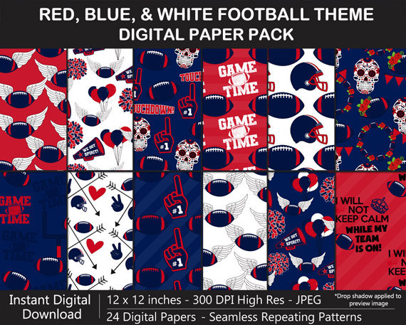 Love these red, blue, and white seamless pattern football digital papers!