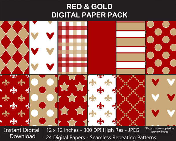 Red and Gold Digital Paper Pack for 49ers Football Fan Crafting!