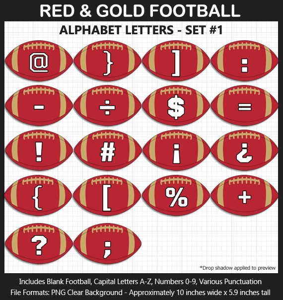 Love these fun Red and Gold Football clipart for game day decoration - Letters, Numbers, Punctuation - Go Niners!