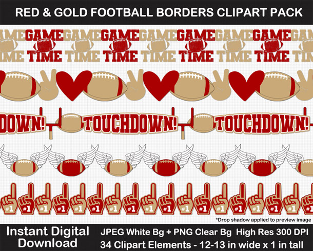 Love these fun red and gold football borders for scrapbooks, signs, and bulletin boards. Go Niners!