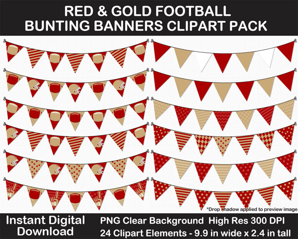Love these fun Red and Gold Football Theme Bunting Banner Clipart - Go Niners!