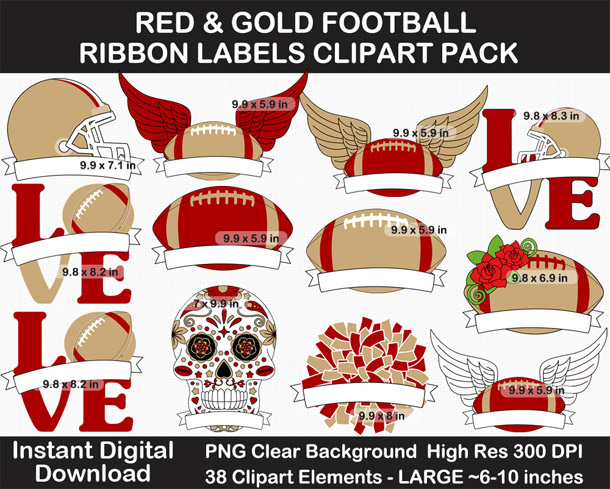 Red and Gold Football Ribbon Label Clipart Pack - Go Niners!