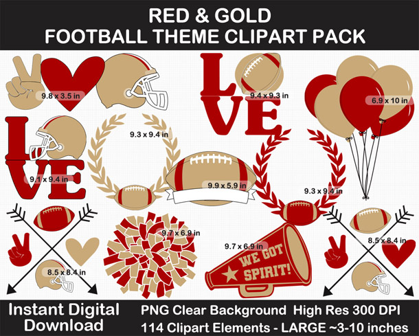 Love these fun Red and Gold Football Theme Clipart - Letters, Numbers, Punctuation - Go Niners!